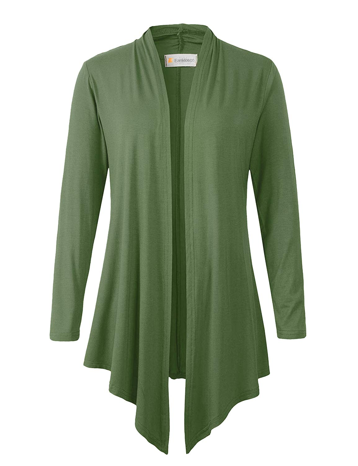 Eanklosco Women's Long Sleeve Drape Open-Front Cardigan Light Weight Irregular Hem Casual Tops (M, Army Green)