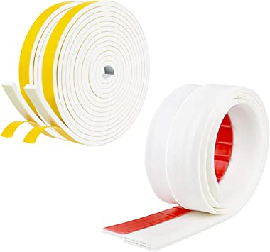 White Foam Weather Stripping Door Seal Strip Window Insulation Door Soundproofing Weather Seal Tape