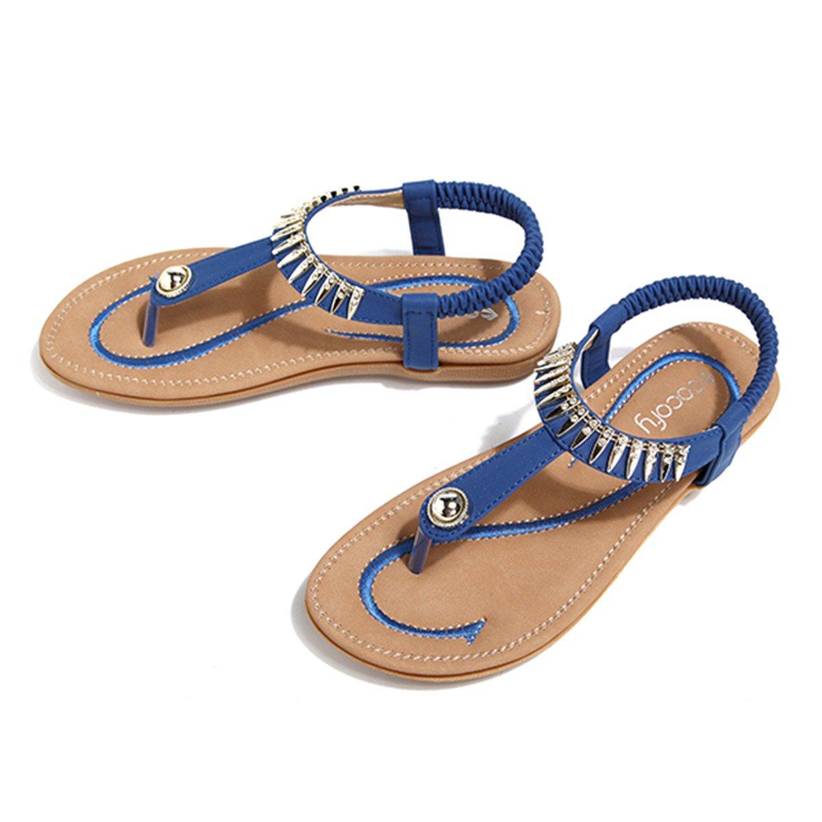 Socofy Bohemian Sandals,Women's Metal Elastic Flat Sandals Summer Bohemia Style Clip Toe Flip Flops Shoes Blue 9 B(M) US by Socofy (Image #4)