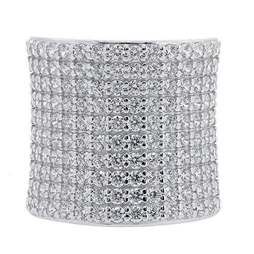 BL Jewelry Sterling Silver Cubic Zirconia Pave Dome Ring