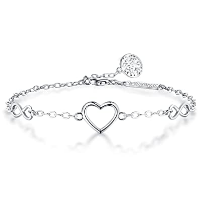 WISHMISS Women 925 Sterling Silver Infinity Endless Love Heart Symbol Tree of Life Charm Adjustable Chain Bracelet with Blue Gift Box Wzx1D