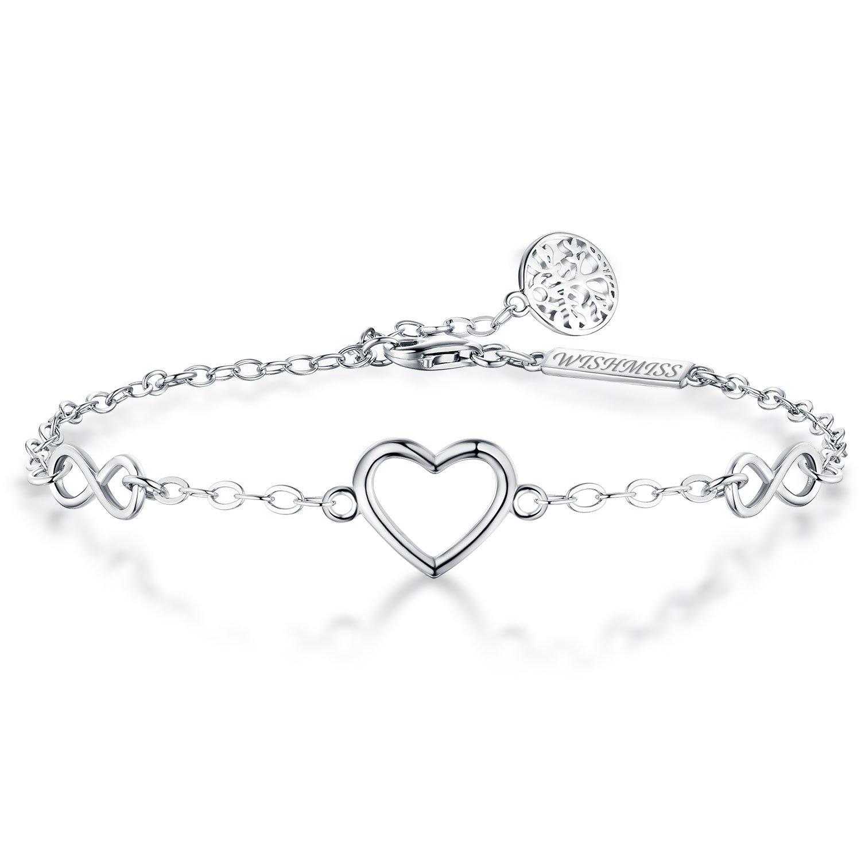 WIHSMISS Sterling Silver Infinity Bracelet- Endless Love Heart Symbol Bracelet withTree Life Charm Best Family Tree Bracelet Mother Daughter Women/Girl