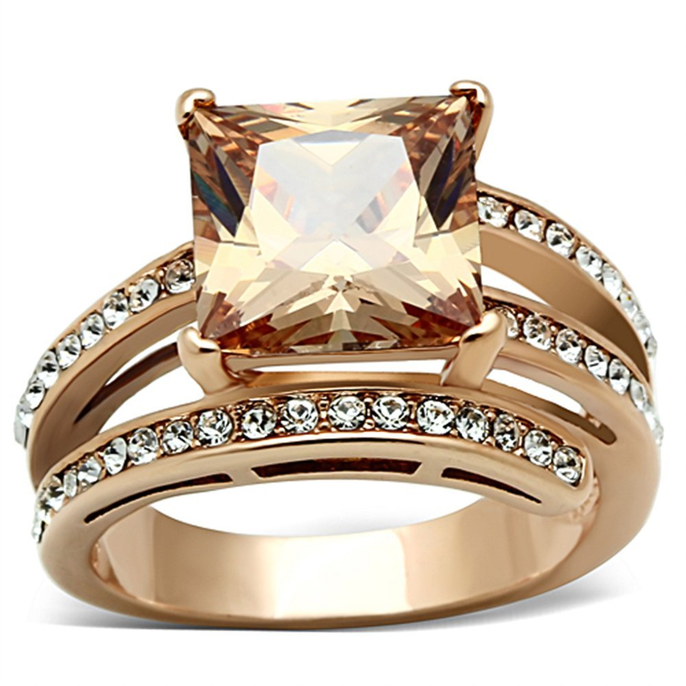 bf84b39559b88 Marimor Jewelry Women's Stainless Steel Rose Gold Princess Cut Champagne  Zirconia Cocktail Ring