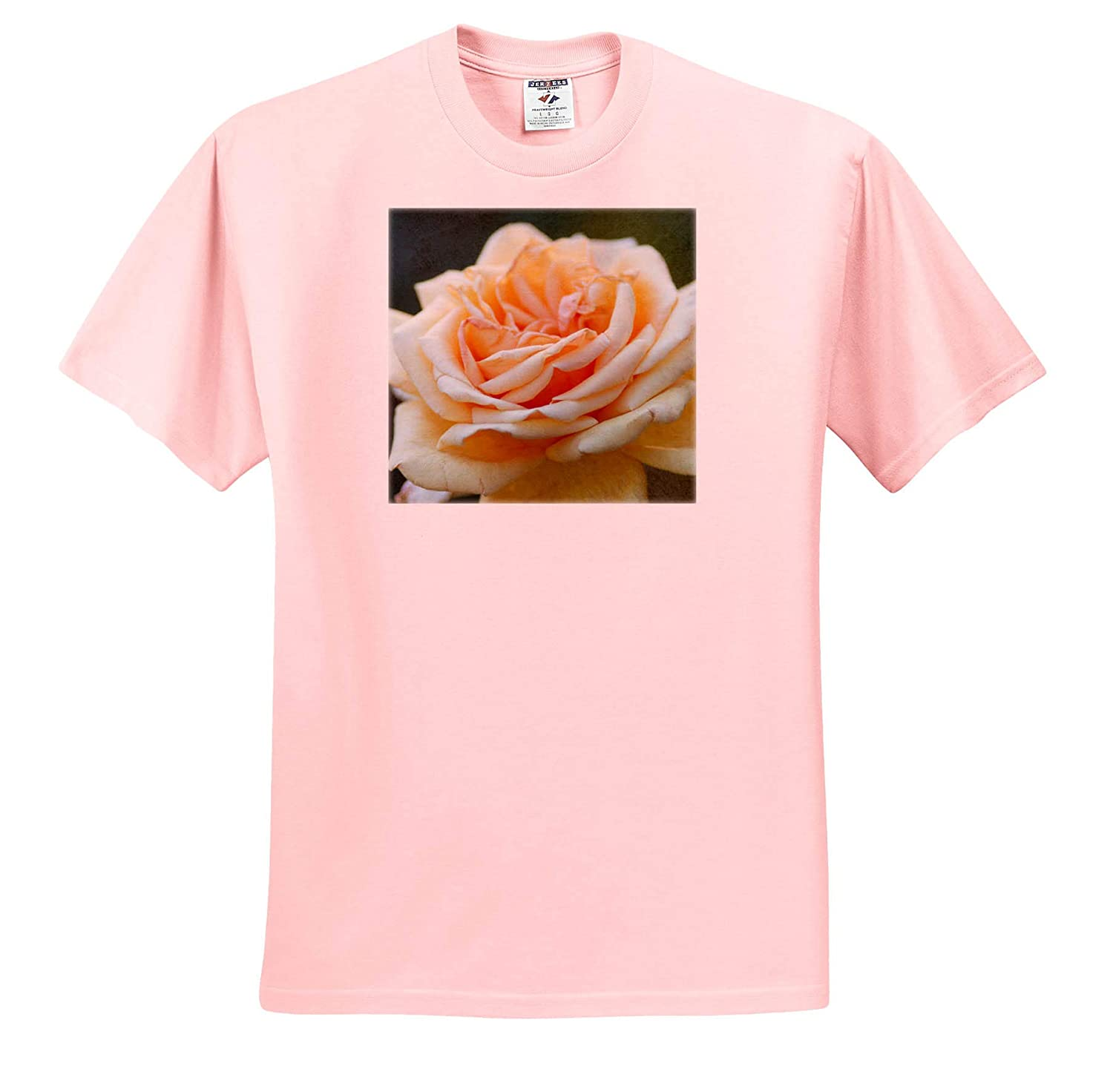 Closeup View T-Shirts Rose Flower of Beige Color Flowers Rose 3dRose Alexis Photography Textured Photograph