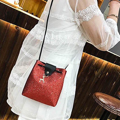 pour Crossbody Bag La épaule Sacs Fille Portés Sac PU Cuir Rouge Brillant en pour Bandoulière à Paillette Femme Cabina 1qaw4
