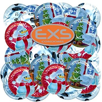 exs xmas 100 round foiled condoms with christmas designs bulk pack by exs - Christmas Condoms