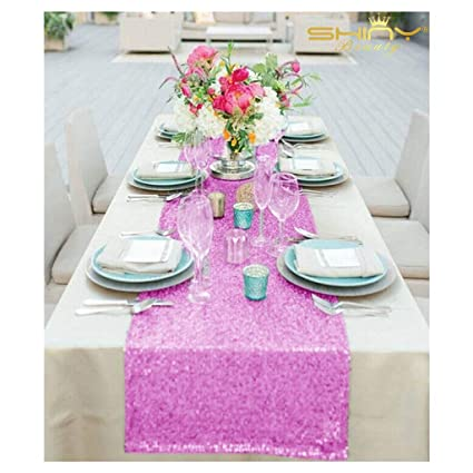 Wholesale Wedding Table Runners 30Th Birthday Decorations Sequin Tablecloth 1027S 14x132 Inch Lavender