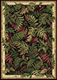 Designer Home Decor Tropical Black Nature Print Leaves Ferns Area Rug - Actual 7' 8