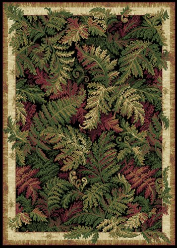 Tropical Black Nature Print Leaves Ferns Area Rug - Actual 5' 2