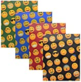 Book Sox EMOJI 4-Pack Project Folders, 2 Pocket, 3 Hole Punch, Glossy Heavyweight Portfolios