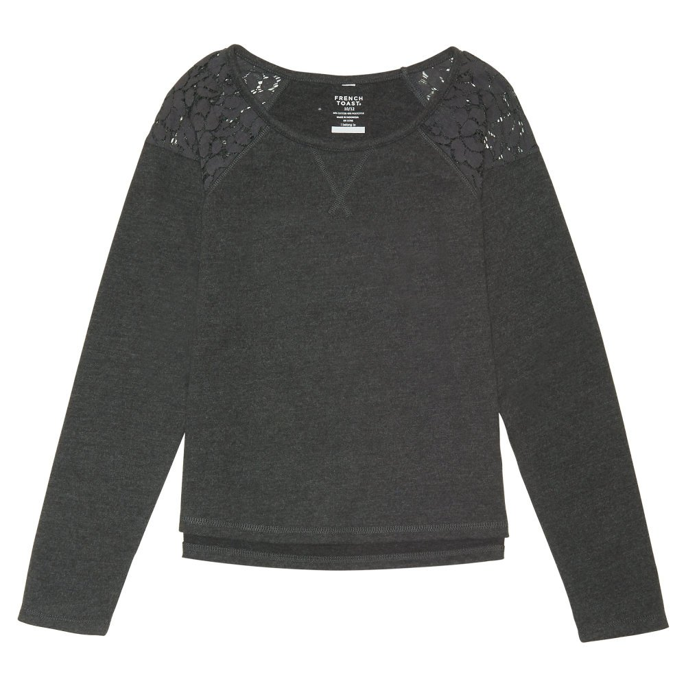 French Toast Big Girls' Lace Shoulder Sweatshirt ,Charcoal Heather Gray Single Dye,XL (14/16)