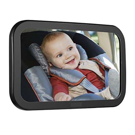 Black Frame Rear View Baby Car Seat Mirror to See Rear Facing Infants and Babies Safest Shatterproof Baby Mirror for Car ROYAL RASCALS Baby Car Mirror for Back Seat