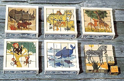 (Atelier Fischer Wooden Block Cube Puzzle in Wooden Case - Wild Animals (16 Pieces))