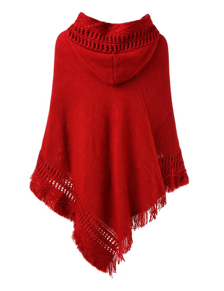 Ferand Ladies' Hooded Cape with Fringed Hem, Crochet Poncho Knitting Patterns for Women, Red by Ferand (Image #2)