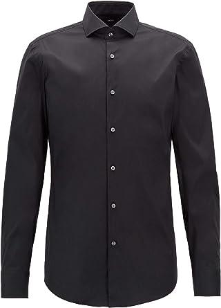 Hugo Boss Black Jason Slim Fit Stretch Poplin Shirt 15 BLACK