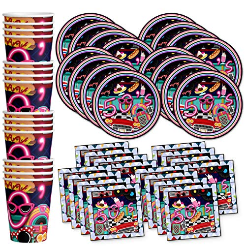 50's Diner Birthday Party Supplies Set Plates Napkins Cups Tableware Kit for 16 -