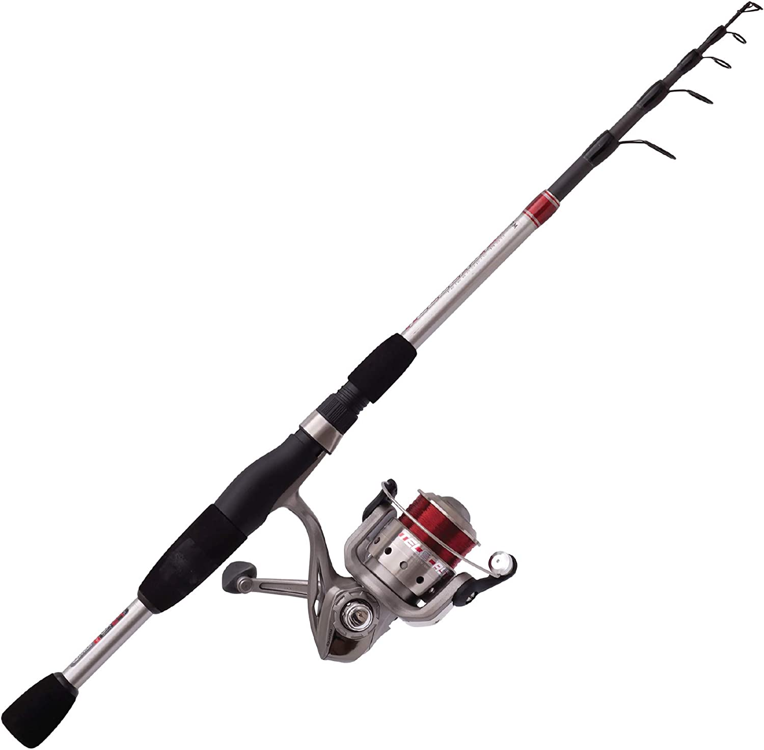 Quantum Telescopic Fishing Rod and Spinning Reel Combo, Durable Telecast Rod, Split-Grip EVA Foam Handle, Continuous Anti-Reverse Fishing Reel with Anodized Aluminum Spool