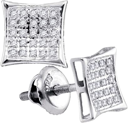 The Diamond Deal Sterling Silver Womens Round Diamond Square Cluster Earrings 1//20 Cttw