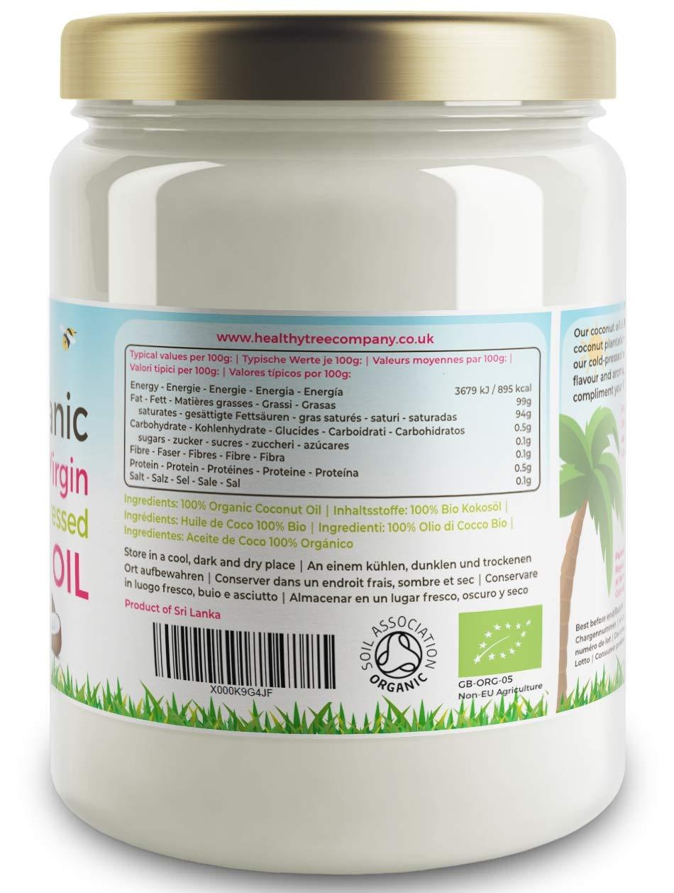 TheHealthyTree Company Aceite de Coco Extra Virgen Orgánico - 500ml: Amazon.es: Alimentación y bebidas