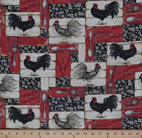 (Cotton Country Flock Roosters Patch Barn Red Cotton Fabric Print by Yard)