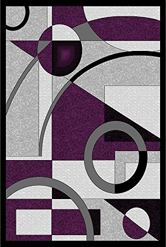Golden Rugs Platinium Collection Hand Carved Area Rug Modern Contemporary Black-Purple