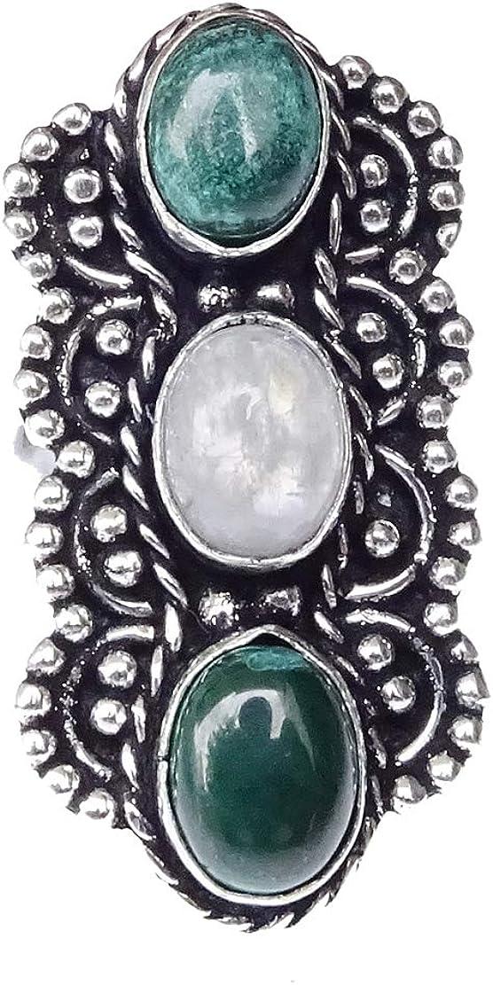 India Jewel Store Anillo de Dedo Moderno de Filigrana de Piedras Preciosas de malaquita y Piedra Lunar Mujeres, joyería de Anillo Plateado de diseñador de declaración de Moda única