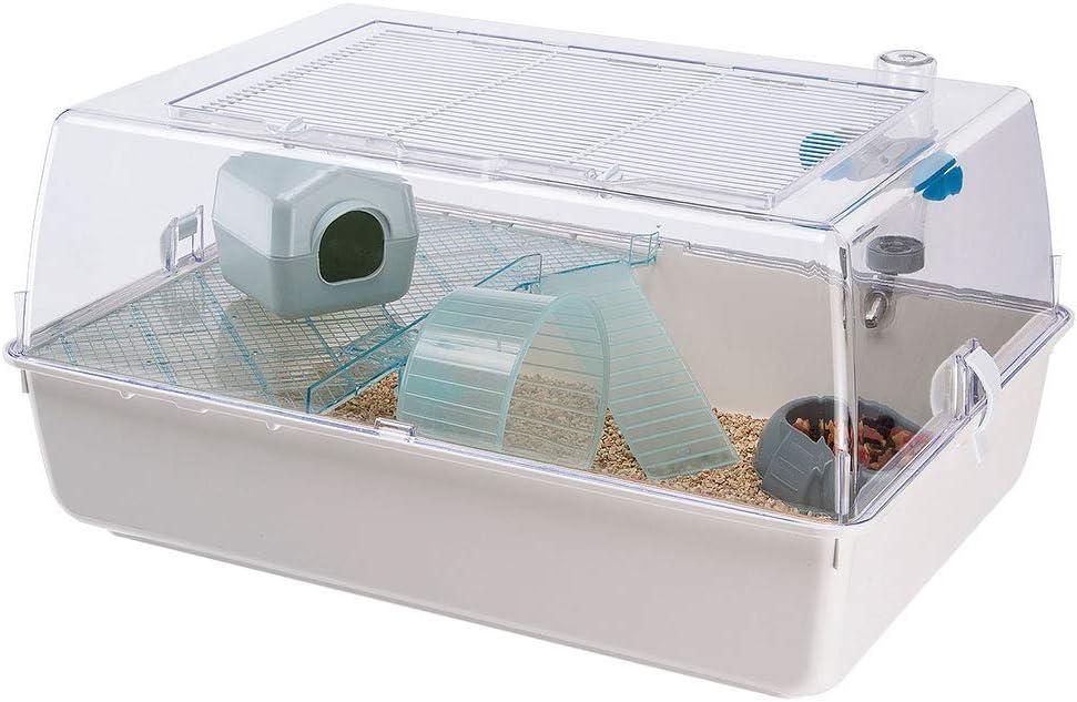 Ferplast Jaula de plástico para hámsteres y ratoncillos Mini Duna Hamster de Dos Pisos, Rejilla de ventilación y Accesorios, Techo Transparente, Alambre Pintado Blanco y plástico, 55 x 39 x h 27 cm