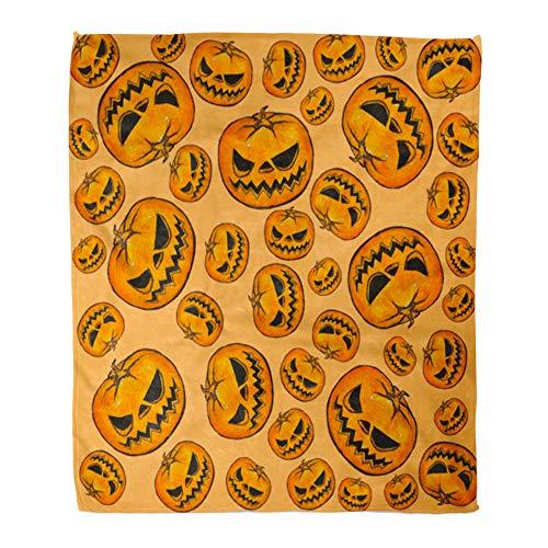 Emvency Throw Blanket Warm Cozy Print Flannel Orange