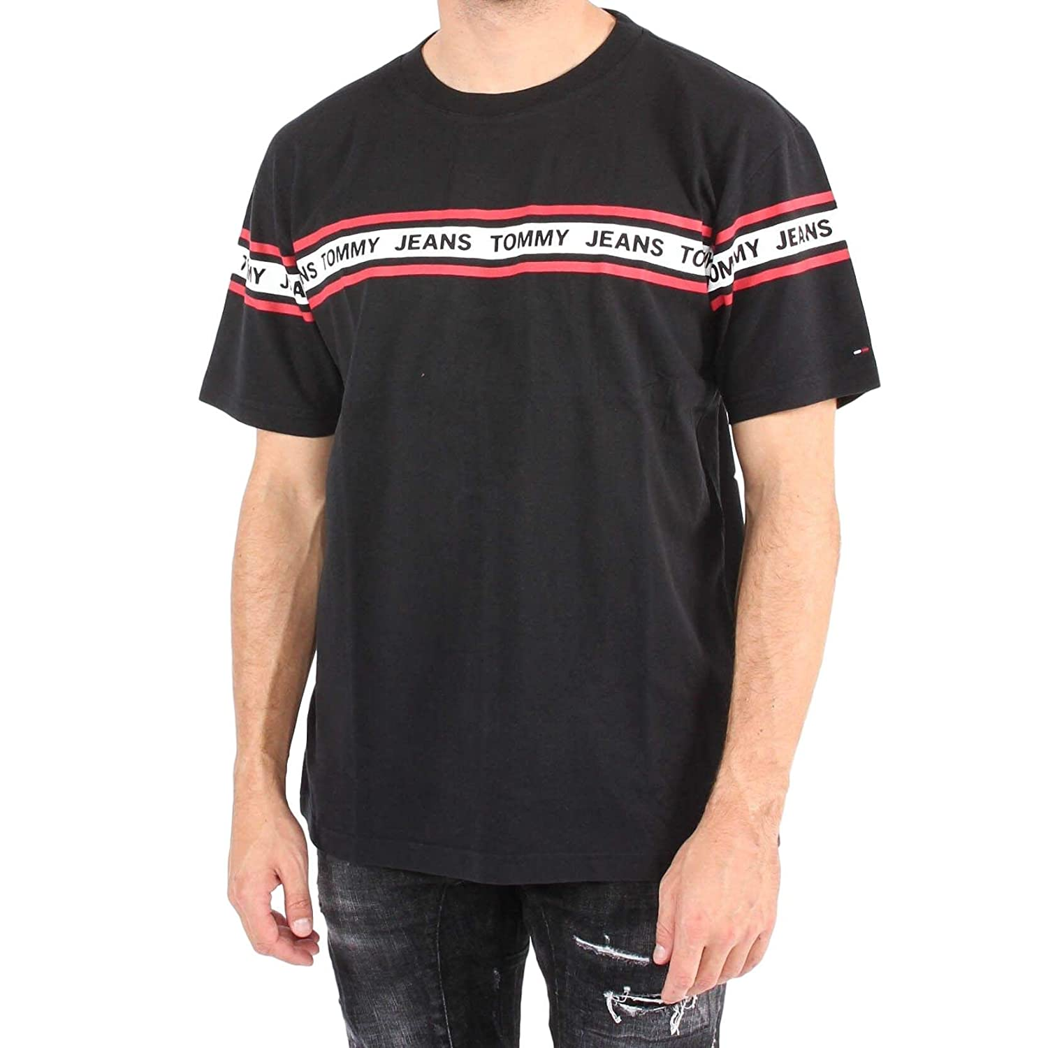 the best attitude 70d4c b7975 T-Shirt Tommy Jeans DM0DM05559 Uomo Hilfiger Denim Nero ...
