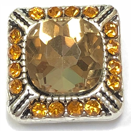 Designer Square Charms (Interchangeable 12mm Button Mini Snap Jewelry Amber Designer Square by My Prime Gifts)