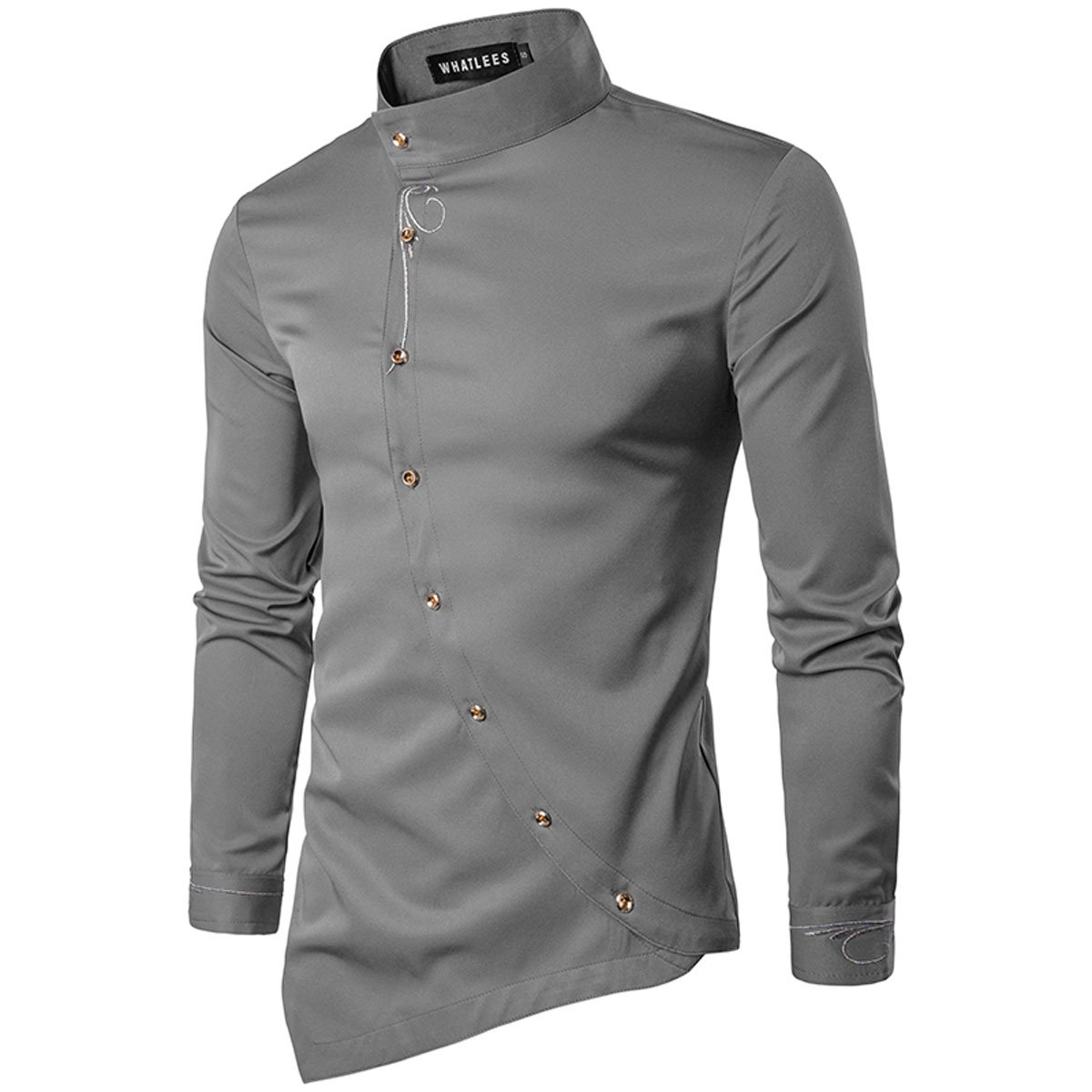 8b2f0b4fa2a ZYFGfree Embroidery Design Button Down Long Sleeve Shirts For Men Slim Fit Oblique  Stand Up Solid Color Chemise Homme at Amazon Men's Clothing store: