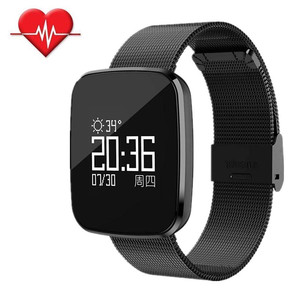 Jennyfly Smart Wrist Multifunction Bluetooth Smart Watch IP67 Life Waterproof Fitness Watch with Heart Rate/Blood Pressure/Sleep Monitor Touch Screen Running Wristbandfor Women and Men - Black