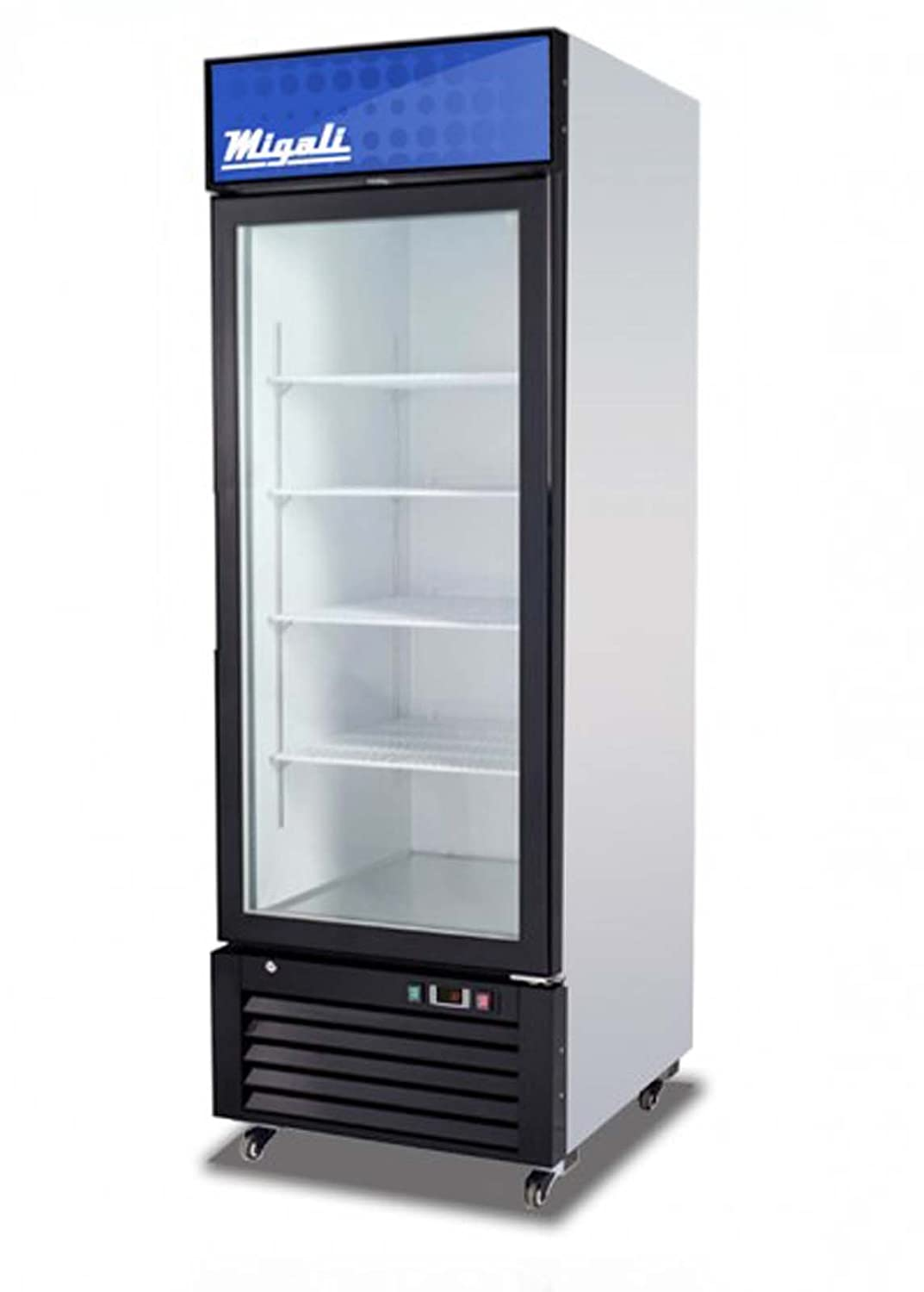 "Migali C-23RM Competitor Series Refrigerator Merchandiser, 27"" W, 23.0 cu. ft. Capacity, 1 Hinged Glass Door, White Sides/White Interior/Black Front"