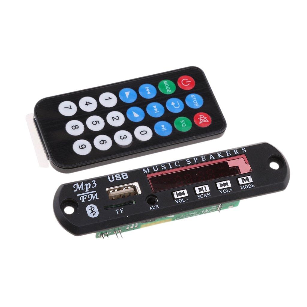 Sharplace 1 X Decoder Tablero FM Bluetooth de 5v para Coche Accesorios de Automó vil USB FM TF AUX MP3, WAN, WMA, FLAC