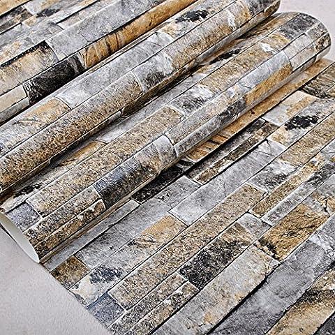 GohEun Vintage Rustic 3D Effect Vinyl Tile Stone Brick Wallpaper-color:beige - Sj Speaker Cable