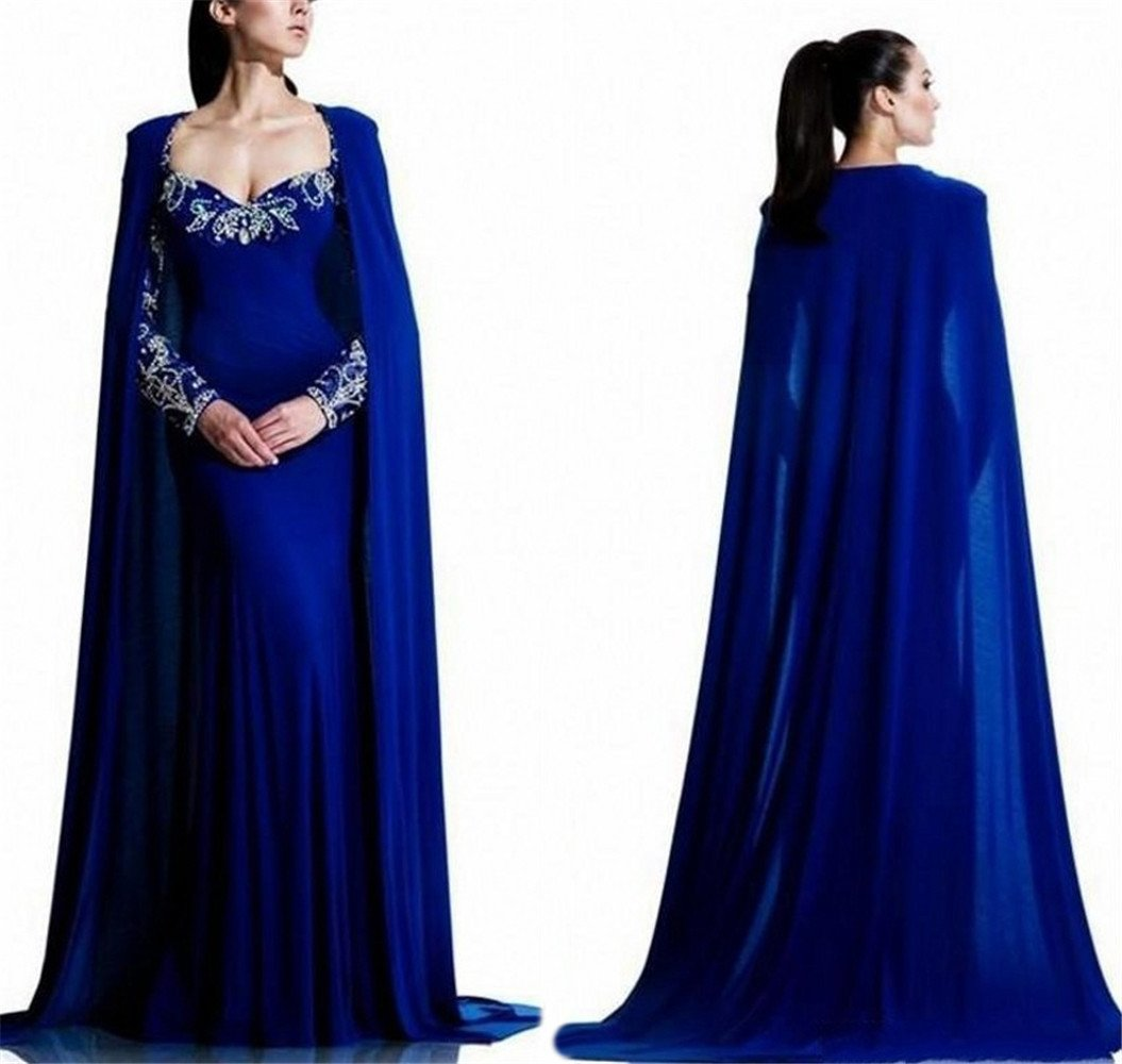 Tsbridal Mermaid Prom Dresses Crystals Long Sleeves Evening Party GownsXC311-Royal Blue4 by Tsbridal