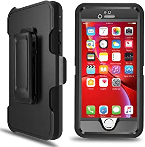 iPhone 6s Case, iPhone 6 Defender Case with Belt Clip, Kickstand, Holster, Heavy Duty, Built-in Screen Protector Rugged Rubber Case Compatible with iPhone 6s/6s(4.7