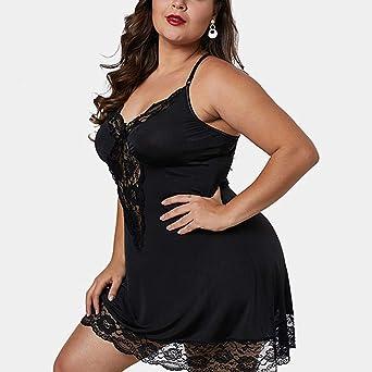 Camisones sexys Mujer Talla Grande ❤️Absolute Vestido de Encaje de Mujer Ahueca hacia Fuera Ropa de Dormir con Cuello en V para Mujer Vestido Correa Mujer ...