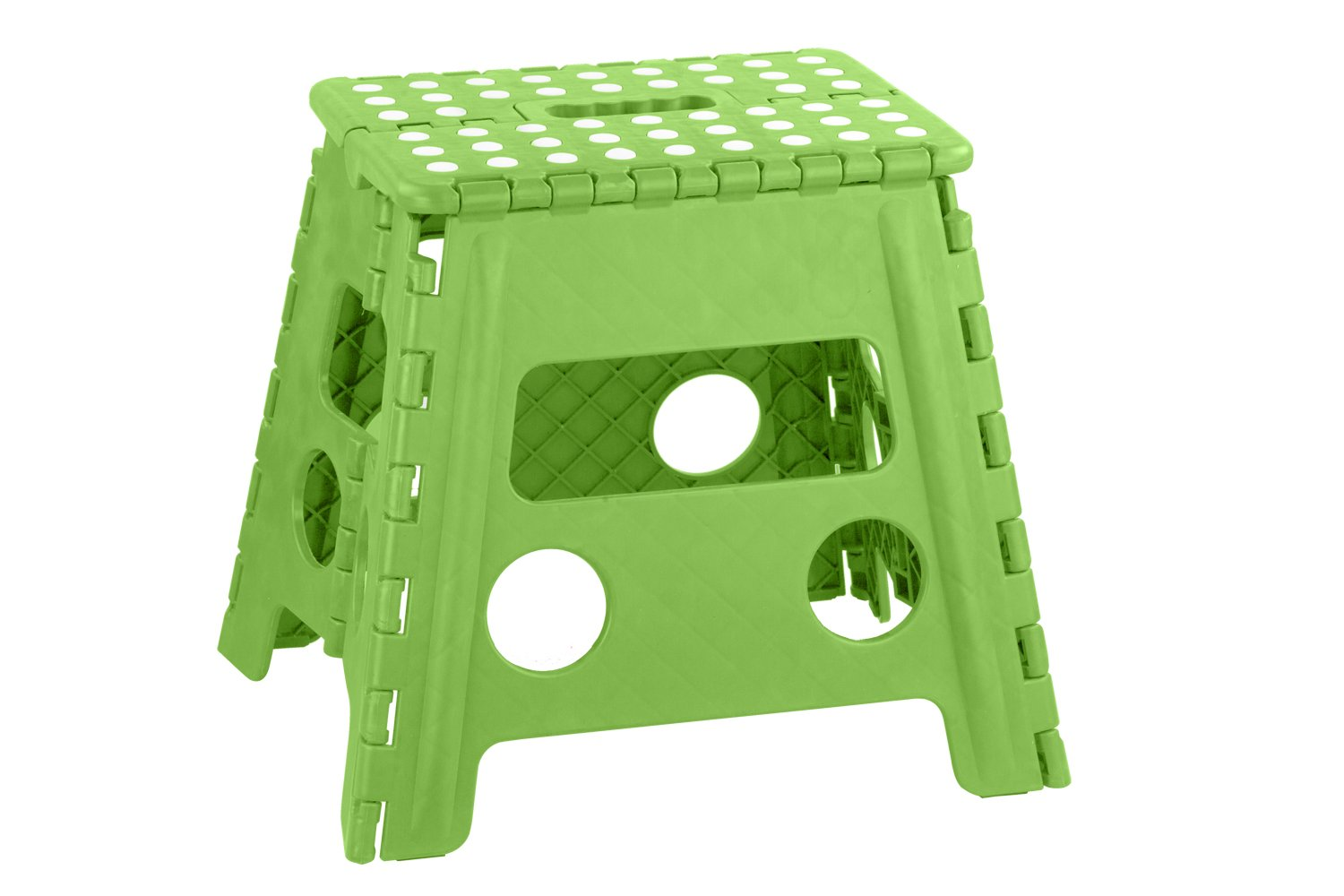 Home Basics FS10859-Grn Bright Folding Stool with Non-Slip Dots, Large, Green