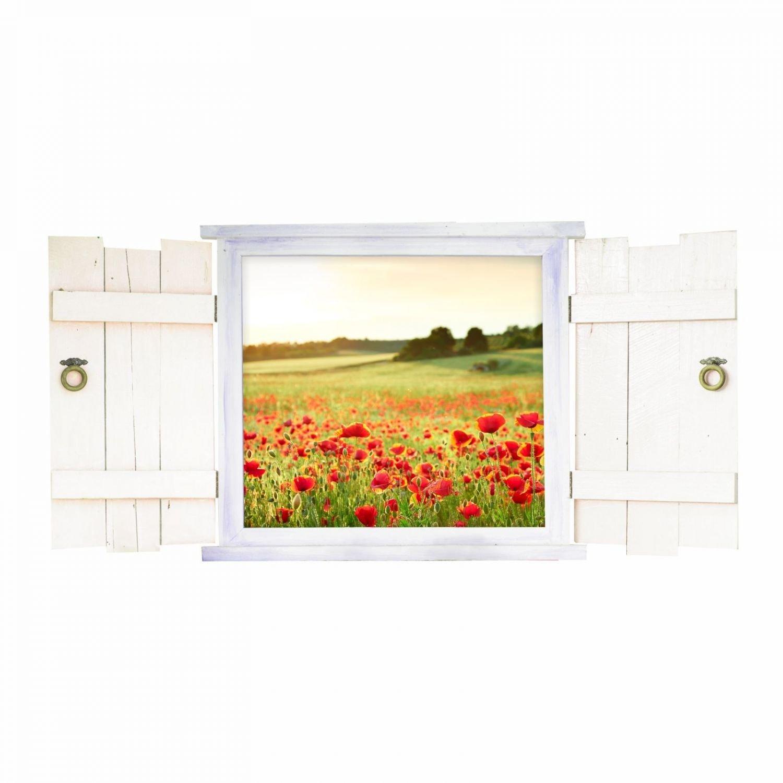 Nikima Schönes für Kinder - 039 Wandtattoo Mohnwiese im Fenster mit Fensterläden - in 6 Größen - wunderschöne Wandsticker und Aufkleber - Wanddeko - Wandbild Größe 1750 x 871 mm