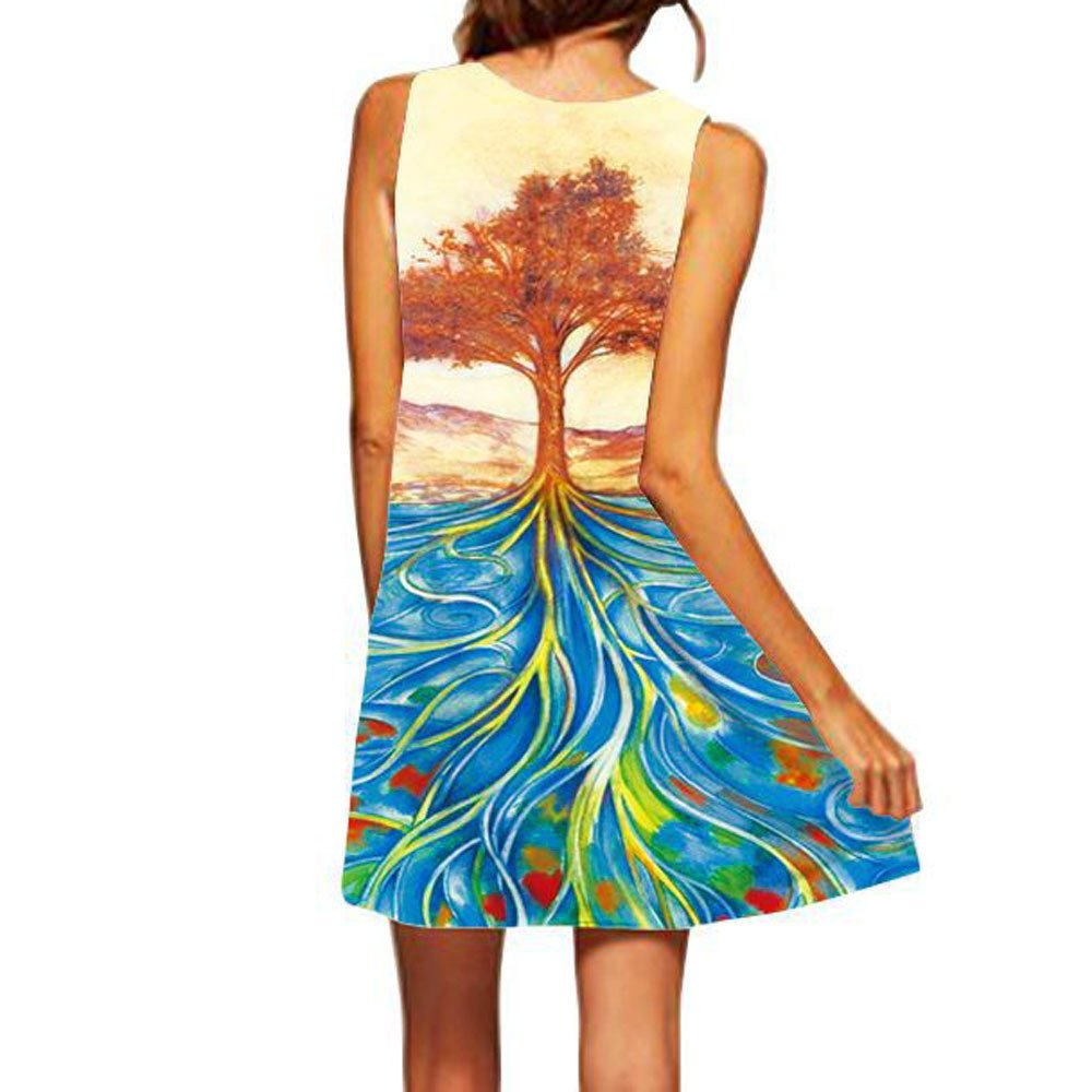 NRUTUP Dresses for Women Casual summerLoose Summer Sleeveless Big Tree Print Tank Short Mini Dress(Blue,M)