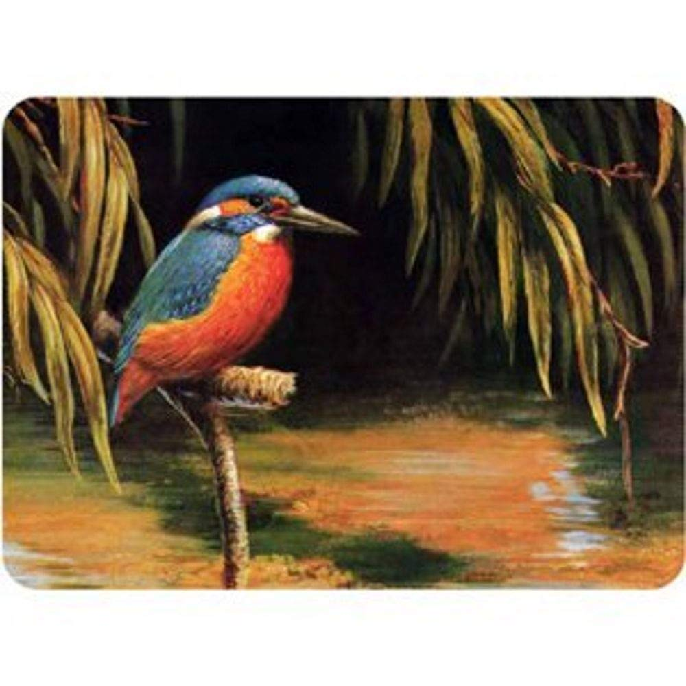 Premium Glass Chopping Board - Kingfisher Design Large Kitchen Worktop Saver Protector