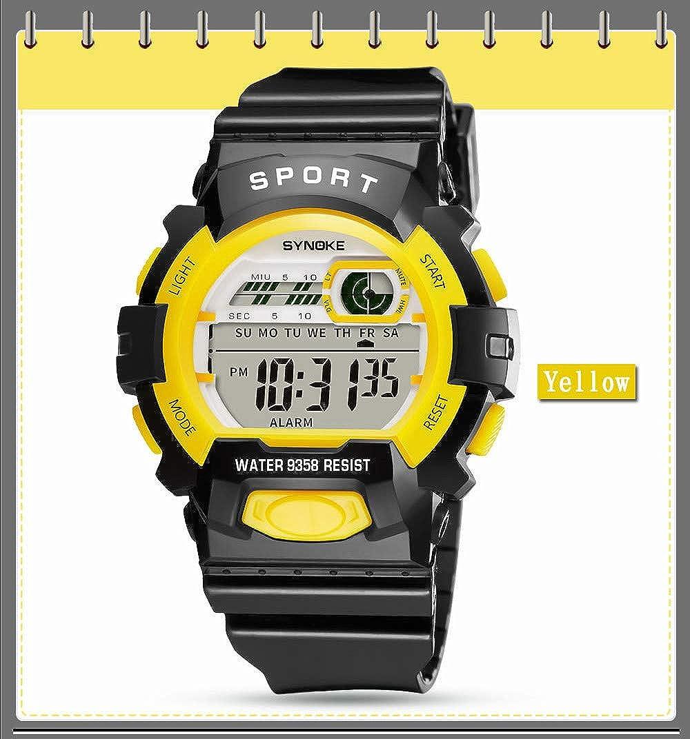 Bestow Reloj de Pulsera de Fecha Digital de LED para Ni?os Reloj Deportivo de Ni?os LED(Amarillo): Amazon.es: Ropa y accesorios