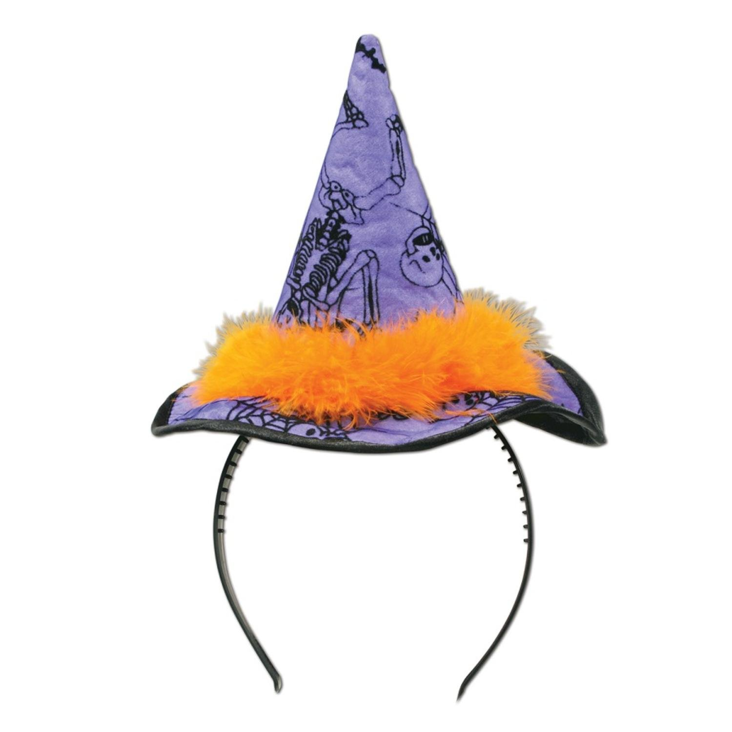 Club Pack of 12 Halloween Purple Witch Hat Headband Costume Accessory Party Favors