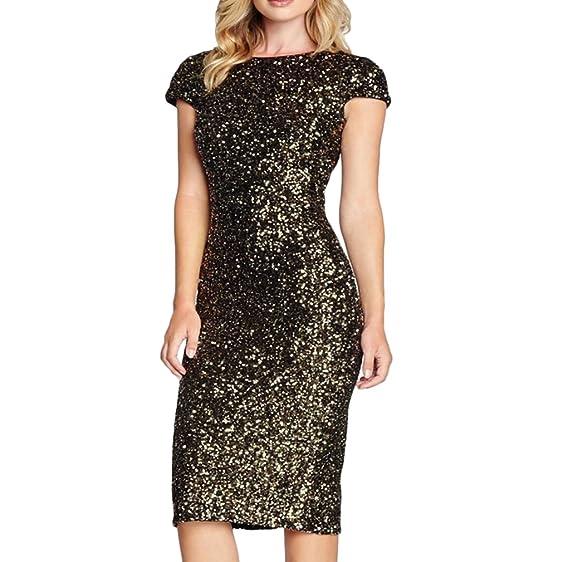 Frauen Kleid Festkleid Kleid Partykleider Knielang Rundkragen Kurzarm  Rückenfrei Paket Hüfte Herbst Geöffnete Gabel Pailletten
