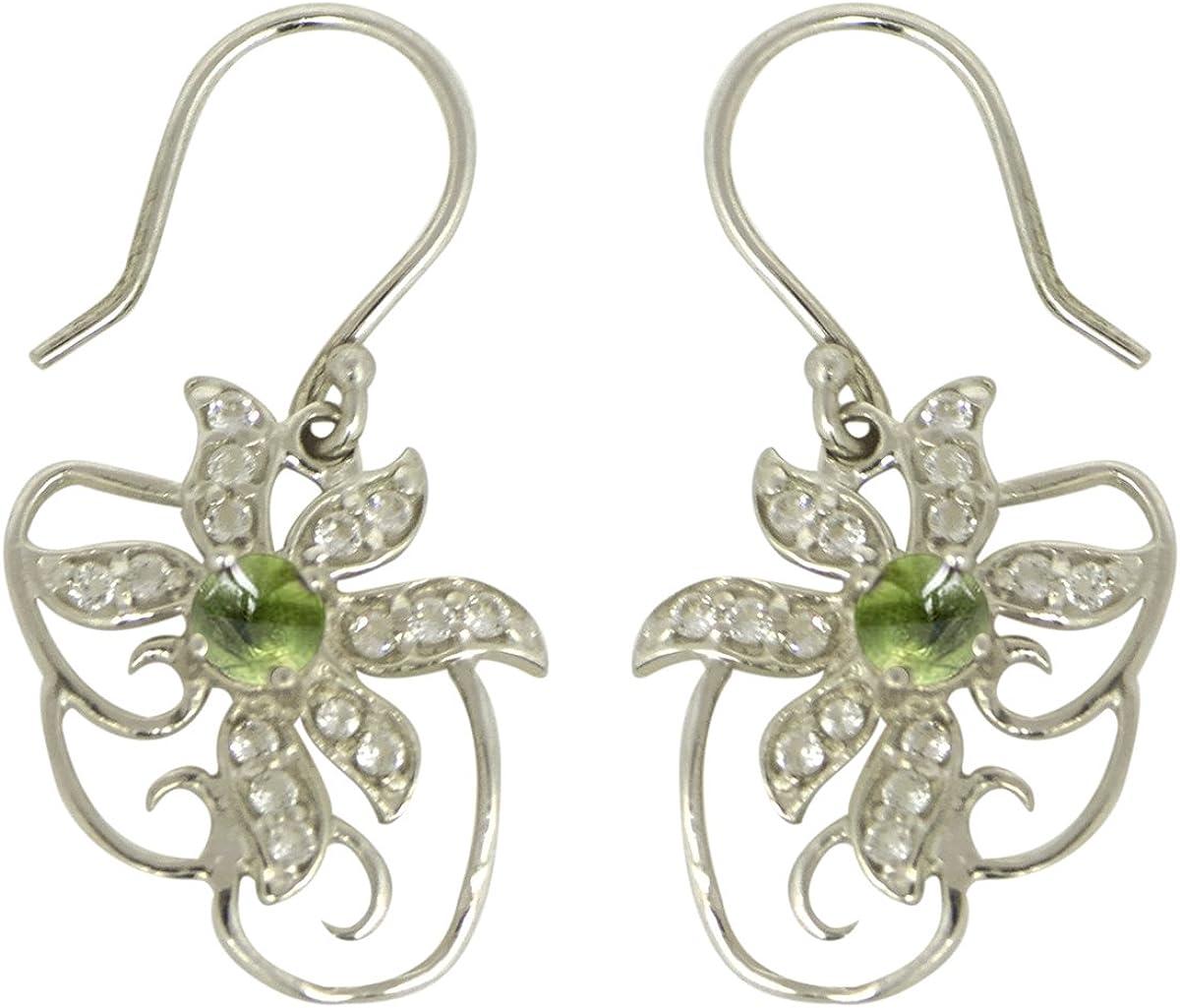 Pendientes de mujer con diseño floral turmalina verde y piedra de topacio blanco 925 joyas de plata