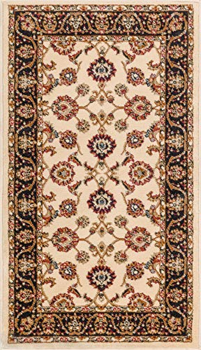 Noble Sarouk Ivory Persian Floral Oriental Formal Traditional Area Rug 2x4 (2'3