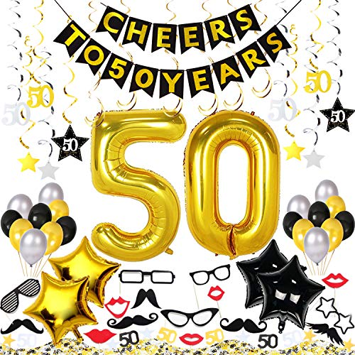 50th Birthday Decorations Kit 73 Pieces – CHEERS TO 50 YEARS Banner, 40-Inch Gold 50 balloons, 50th Anniversary Swirl Decorations, Photo Booth Props, 50 Confetti for Table Decorations