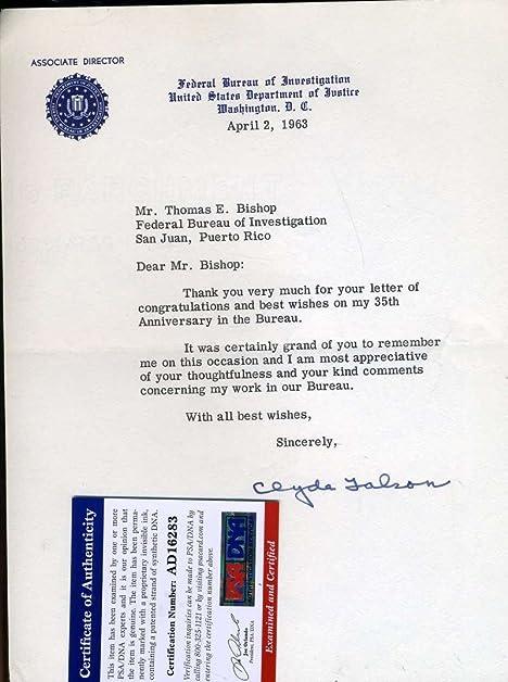 Amazon Com Clyde Tolson Fbi Signed Psa Dna 1963 Letter Authentic
