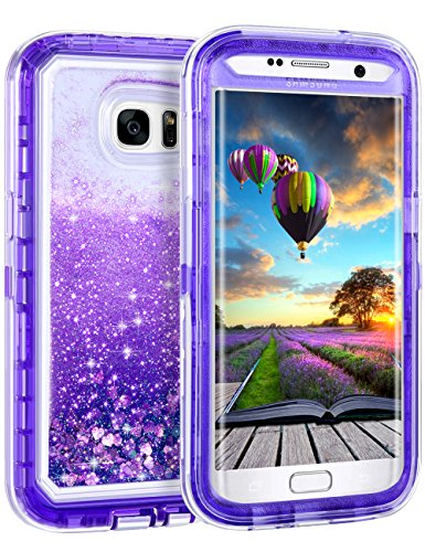 Samsung Galaxy S7 Edge Case, Coolden Luxury Floating Glitter Case Sparkle Bling Quicksand Liquid Cover Clear Shockproof Bumper Dual Layer Anti-Drop PC Frame + TPU Back for Galaxy S7 Edge, Purple